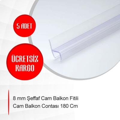 8 mm Şeffaf Cam Balkon Fitili Cam Balkon Contası 180 cm